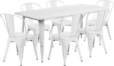 Flash Furniture ETCT005630WHGG Rectangular Shape Patio Sets