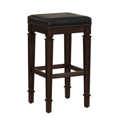 American Heritage 11114 Monaco Series Stool with Navajo Wooden Frame and Bonded Leather Cushion in High Gloss Black