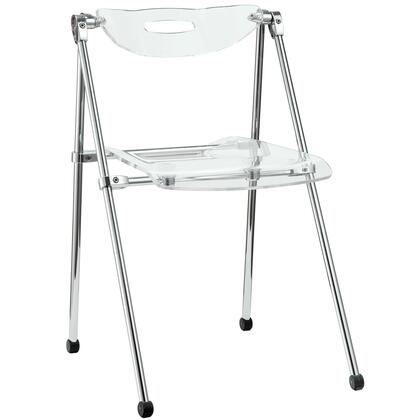 """Modway EEI-148 18.5"""" Telescope Folding Dining Chair with Modern, Compact Design, Durable Acrylic Seat/Back and Chrome Frame"""