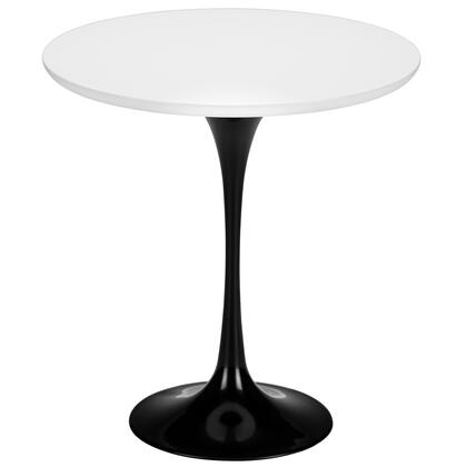 """EdgeMod Daisy Collection 20"""" Side Table with Walnut Finished Top, Scratch Resistant, Veneer Materials and Tapered Cast Aluminum Base in"""
