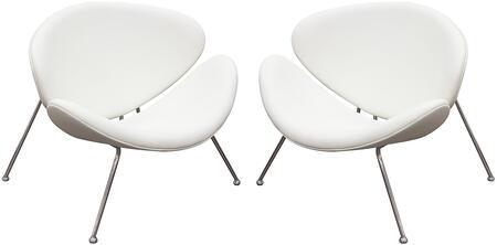 Diamond Sofa ROXYCHWH2PK Roxy Series Armless Metal Frame Accent Chair