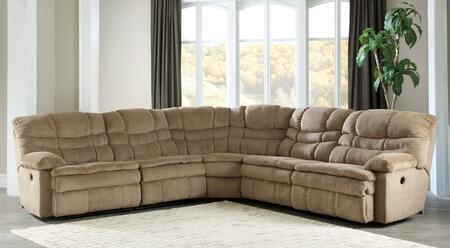Signature Design by Ashley Zavion 66303SEC5PC 5-Piece Reclining Sectional Sofa with Left Arm Facing Recliner, Armless Recliner, Wedge, Armless Chair and Right Arm Facing Recliner in Caramel Color