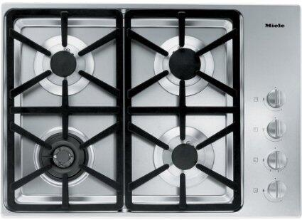 """Miele KM3464 30"""" XX Cooktop with 4 Sealed Burners, Total BTU Output of 45,300, Wok Burner, Fast Ignition System, Simmer Function, Automatic Re-ignition, and Stainless Steel Finish and Frame"""