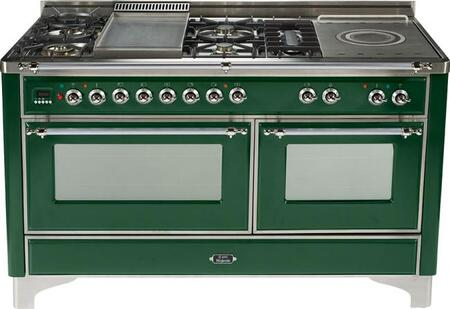 Ilve UMT150SMPVS Majestic Techno Series Emerald Green Dual Fuel Freestanding Range with Sealed Burner Cooktop, 3.55 cu. ft. Primary Oven Capacity, Warming