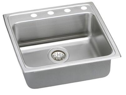 """Elkay LRAD222265 Gourmet Lustertone Stainless Steel 22"""" x 22"""" Single Basin Top Mount Kitchen Sink:"""
