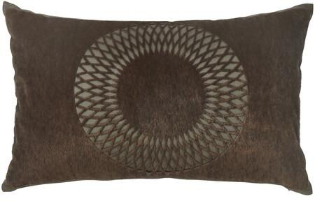 """Milo Italia Kobe P187951MPTM 20"""" x 12"""" Pillow with Faux Fur Cut Design, Polyester Cover and Zipper Closure in Brown"""
