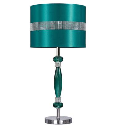 """Milo Italia William LT323634TM 23"""" Tall Acrylic Table Lamp with Silver Finished Metal Base, Drum Shade and On-Off Switch in"""