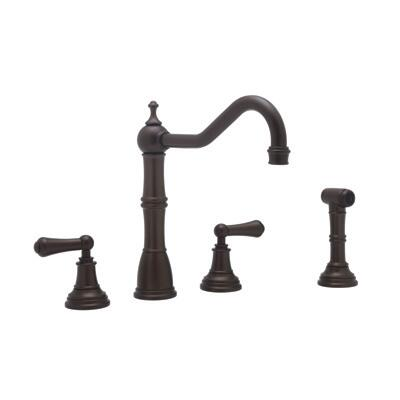 Rohl U.4776L--2 Perrin and Rowe Collection 4 Hole Kitchen Faucet with Metal Levers and Sidespray, California AB 1953 and Vermont S152 Compliant:
