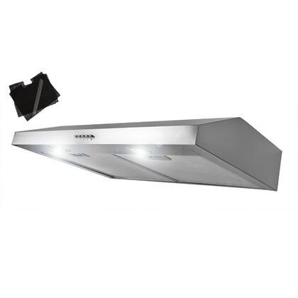 "AKDY AURY130X 30"" Under Cabinet Range Hood with 300 CFM, 65 dB, Centrifugal Motor, Crisp Analog Push Buttons, Halogen Lighting, 3 Fan Speed, Aluminum Grease Filter and Ductless: X"
