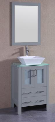 """Bosconi AGR124SQCWGX XX"""" Single Vanity with Clear Tempered Glass Top, Flared Square White Ceramic Vessel Sink, F-S02 Faucet, Mirror, 2 Doors and X Drawers in Grey"""