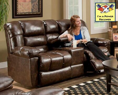 Chelsea Home Furniture 1855024800PWR New Era Walnut Reclining with Wood Frame Loveseat