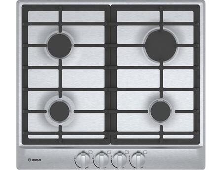 Bosch NGM5x55UC 500 Series Gas Cooktop with Push-to-Turn Knobs, Automatic Electronic Re-Ignition and Low-Profile Design in Stainless Steel