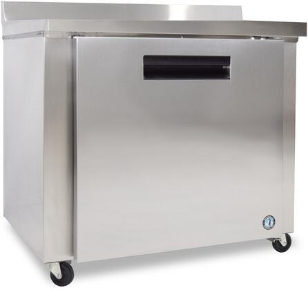 "Hoshizaki CRMR36Wxx 36"" Commercial Worktop Refrigerator with 9.9 cu. ft. Capacity, Stainless Steel Exterior, 1 Epoxy Coated Shelf, Stepped Door Design, and Field Reversible Door, in Stainless Steel"