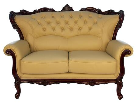 J. Horn 2128IVORYL 2128 Series Bonded Leather Stationary with Wood Frame Loveseat