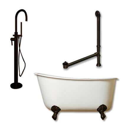"""Cambridge SWED54150PKG Cast Iron Swedish Slipper Tub 54"""" x 30"""" with no Faucet Drillings and Complete Modern Freestanding Tub Filler with Hand Held Shower Assembly Plumbing Package"""