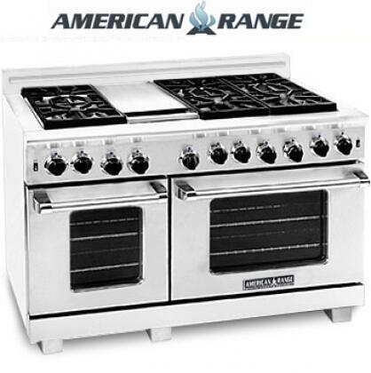 "American Range ARR4842GRLISS 48"" Heritage Classic Series Stainless Steel Gas Freestanding Range with Sealed Burner Cooktop, 4.8 cu. ft. Primary Oven Capacity,"
