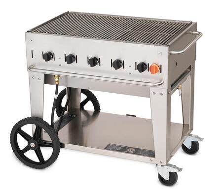 """Crown Verity CV-MCB-36XX 44"""" Wide Mobile Grill with 79,500 BTU/H, 5 Burners, 34"""" Cooking Surface, Tank Holder and Storage Shelf in Stainless Steel"""