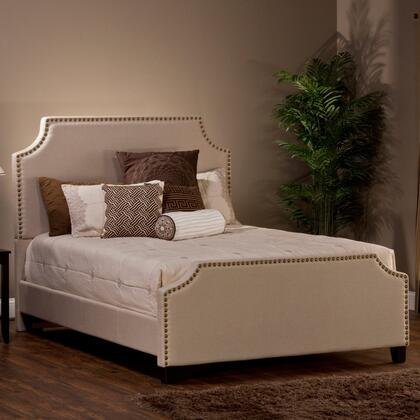 Hillsdale Furniture 1121BR Dekland Panel Bed Set with Rails Included, Gold Nail Head Trim, Pine Wood Construction and Linen Upholstery in Ivory Color