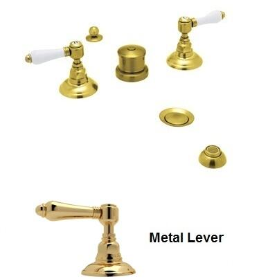 Rohl A1460LM Italian Country Bath Collection Widespread Bidet Faucet with Five Holes and Metal Levers in