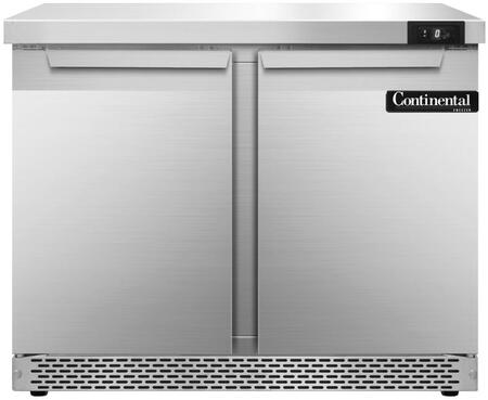 "Continental Refrigerator SWF36F 36"" Worktop Freezer with 10.3 Cu. Ft. Capacity, Front Breathing Compressor, Aluminum Interior, Interior Hanging Thermometer, and Environmentally-Safe Refrigerant, in Stainless Steel"