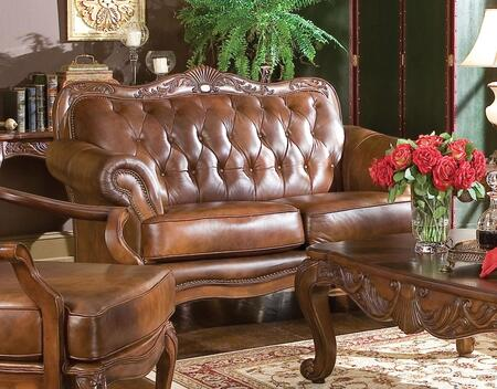 Coaster 500682 Victoria Classic Series Leather Stationary with Wood Frame Loveseat