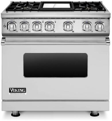 """Viking VDR7364LP 36"""" Professional 7 Liquid Propane Dual Fuel Range with 4 Sealed Burners and Griddle, Ceramic Non-Stic Griddle, SureSpark Ignition System, Infrared Broiler and VariSimmer Setting, in"""