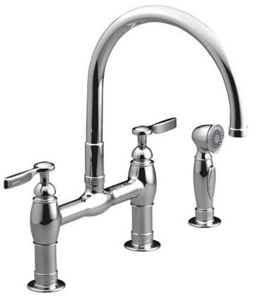 Kohler K-6131-4- Low Lead Compliant Double Handle Kitchen Faucet with Pull Out Spray from the Parq Collection: