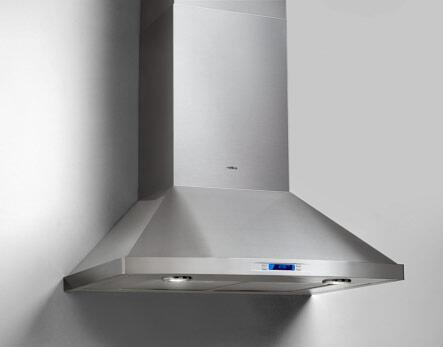 """Elica Pilato EPL63XSS Wall Mount Chimney Hood, 600 CFM Internal Blower, 2 Halogen Lamps, 8"""" Round Duct Transition in Dishwasher Safe Annodized Aluminum Mesh Filters and Stainless Steel"""