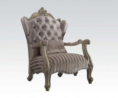 """Acme Furniture Versailles Collection 33"""" Chair with Pillow Included, Wingback Design, Nail Head Trim, Scrolled Crown, Velvet Upholstery, Poplar and Aspen Wood Construction in"""