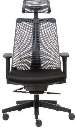 "Boss B6550 38"" Contemporary Executive Chair with Unique Design, Frameless Flexible Molded Mesh Back, Molded Foam Seat, Adjustable Height Arms, Self-Adjusting Synchro-Tilt Mechanism, and Large 27"" Nylon Base in Black"