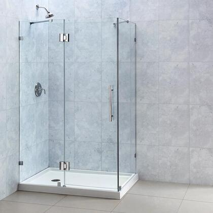 "DreamLine SHEN-13 QuatraLux Clear 3/8"" Glass Frameless Hinged Shower Enclosure in"