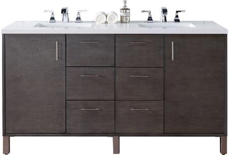 "James Martin Metropolitan Collection 850-V60D-SOK- 60"" Silver Oak Double Vanity with Two Soft Close Doors, Six Soft Close Drawers, Chrome Hardware and"