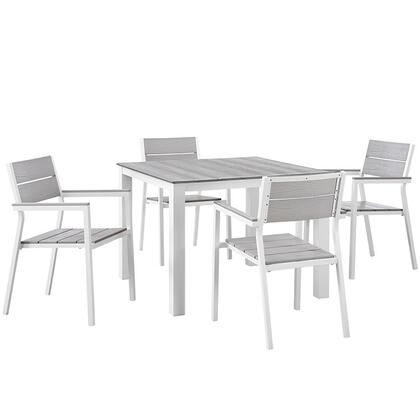 Modway Maine Collection 5 PC Outdoor Patio Dining Set with Solid Grey Polywood Slats, Wooden Plank Boards, Powder Coated Aluminum Frame and Plastic Base Glides in