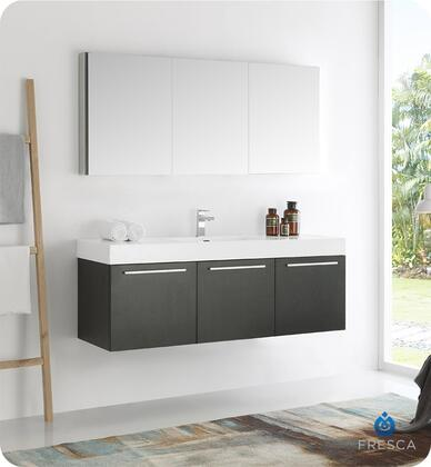 "Fresca Vista Collection FVN8093 60"" Wall Hung Modern Bathroom Vanity with Medicine Cabinet, 3 Soft Closing Doors and Integrated Acrylic Countertop and Sink in"