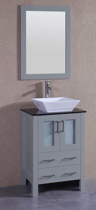 """Bosconi AGR124SQBGX XX"""" Single Vanity with Black Tempered Glass Top, Flared Square White Ceramic Vessel Sink, F-S02 Faucet, Mirror, 2 Doors and X Drawers in Grey"""