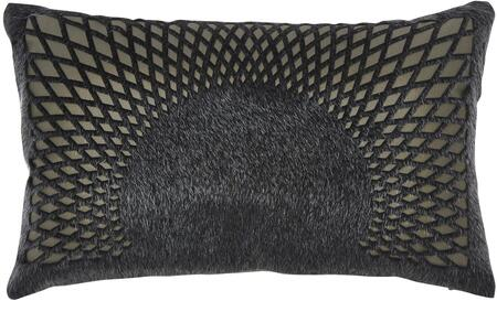 "Milo Italia Kobe P187952MPTM 20"" x 12"" Pillow with Faux Fur Cut Design, Polyester Cover and Zipper Closure in Black"