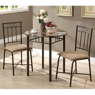Monarch I 305 3 Piece Bistro Set, One Round Table + Two Chairs, with Sturdy Metal Legs and Cushioned Upholstered Seating