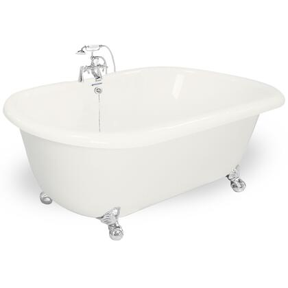 American Bath Factory T080B- Celine Bathtub With 90 Series Faucet, Hand Shower & Metal Cross Handles, Waste & Overflow Included: