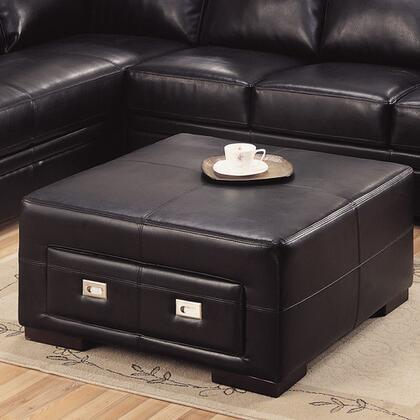 Monarch I8497BK Transitional Bonded Leather Ottoman