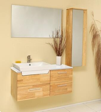 """Fresca Caro Collection FVN6163 36"""" Modern Bathroom Vanity with Mirrored Side Cabinet, 3 Soft Closing Drawers and Ceramic Vessel Sink in"""