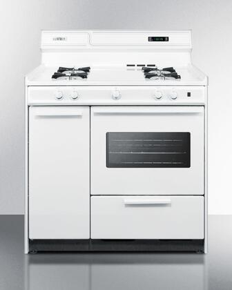 "Summit WXM4307KW 36"" Freestanding Gas Range With Removable Top, Removable Oven Door, Side Storage, Chrome Handle, Drop Down Broiler Door Below Oven, Electronic Ignition & In White"