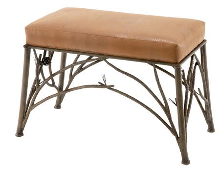 Stone County Ironworks 903134LHRLPC Pine Series Accent Bench  Leather Pecan Leather Bench