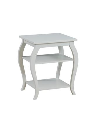 """Powell Panorama Collection 20"""" End Table with 2 Shelves, Tapered Legs, Bentwood Skirt Material, Solid Wood Construction and Medium-Density Fiberboard (MDF) in"""