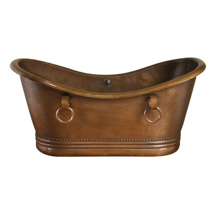 Barclay COTDSN72S Copper Double Slipper Tub with Base, Double Slipper, and Hand Polished, in