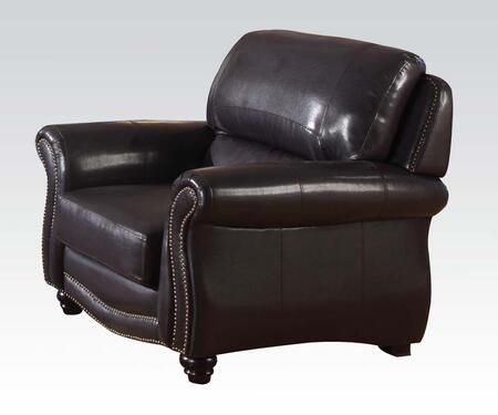 Acme Furniture 50107 Maloney Series Bonded Leather Armchair with Wood Frame in Espresso