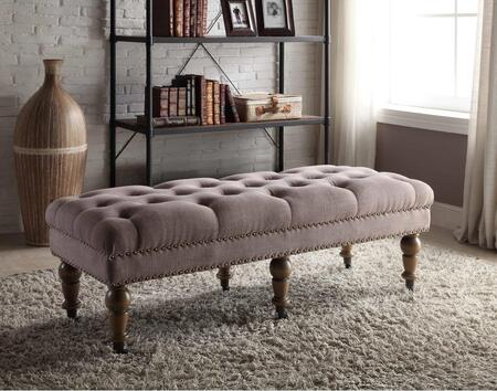 368253TAUP01U Isabelle Washed Taupe Linen 50%22 Bench Lifestyle