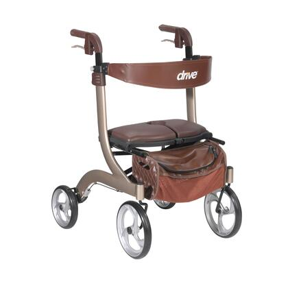 "Drive Medical Nitro DLX Rollator 33""-38"" Adjustable Handle Height, Caster Fork Design, Removable Deluxe Zippered Storage Bag and Lightweight Frame"