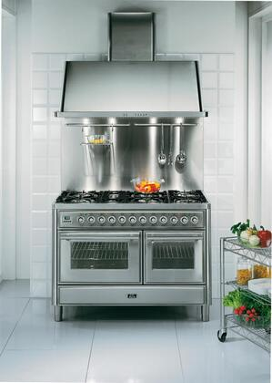 Ilve UMT120S5MPA Majestic Techno Series Dual Fuel Freestanding Range with Sealed Burner Cooktop, 3.55 cu. ft. Primary Oven Capacity, Warming in Antique White