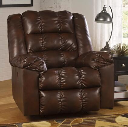 Signature Design by Ashley Hatton DuraBlend 2180X98 Power Rocker Recliner with Pillow Top Arms, Elaborate Stitching Details, Push Button to Activate Recliner and Metal Construction in