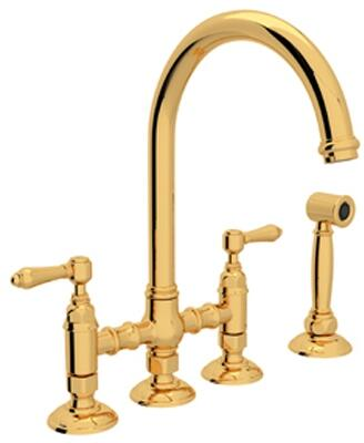"""Rohl A1461LMWS-2 Italian Country Kitchen Collection Deck Mounted C-Spout Bridge Kitchen Faucet with Sidespray, 8"""" Reach, 1.5 GPM Water Flow and Metal Levers in"""